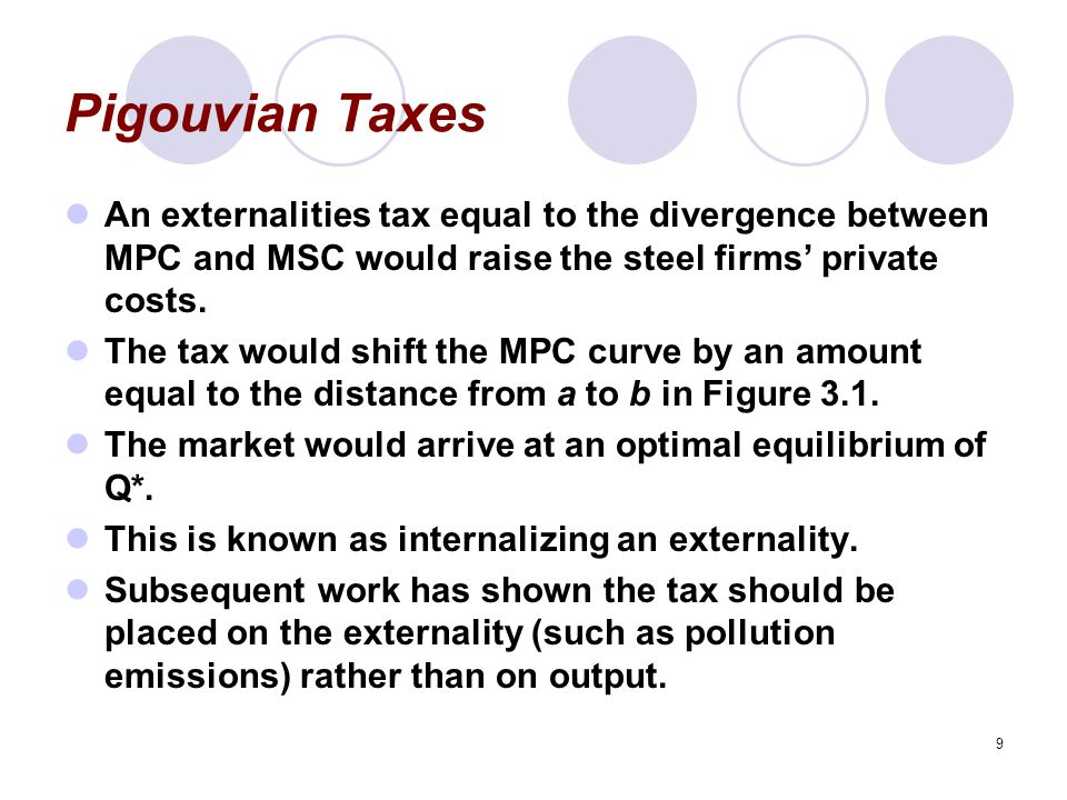 Pigouvian Taxes An externalities tax equal to the divergence between MPC and MSC would raise the steel firms' private costs.