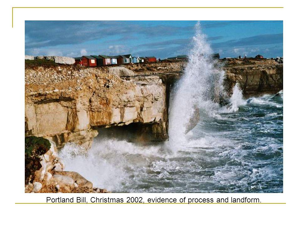 Portland Bill, Christmas 2002, evidence of process and landform.