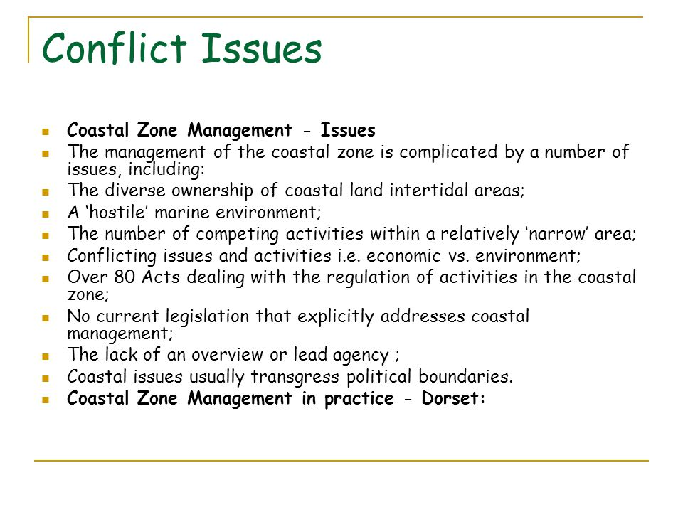 Conflict Issues Coastal Zone Management - Issues