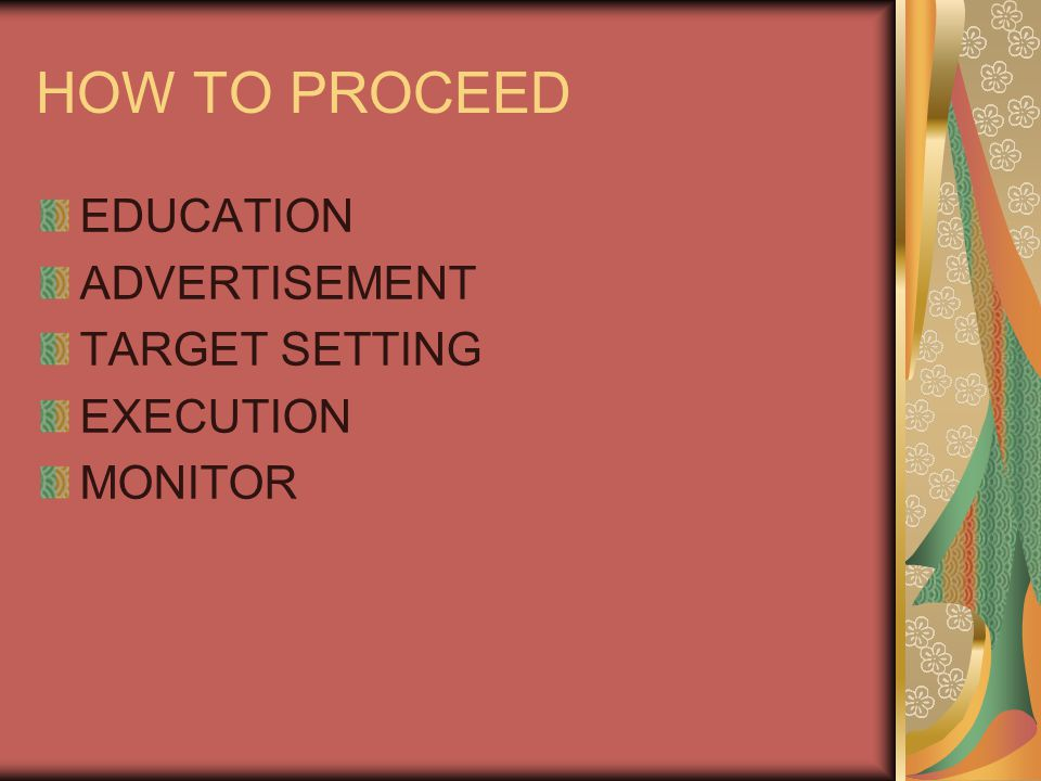 HOW TO PROCEED EDUCATION ADVERTISEMENT TARGET SETTING EXECUTION
