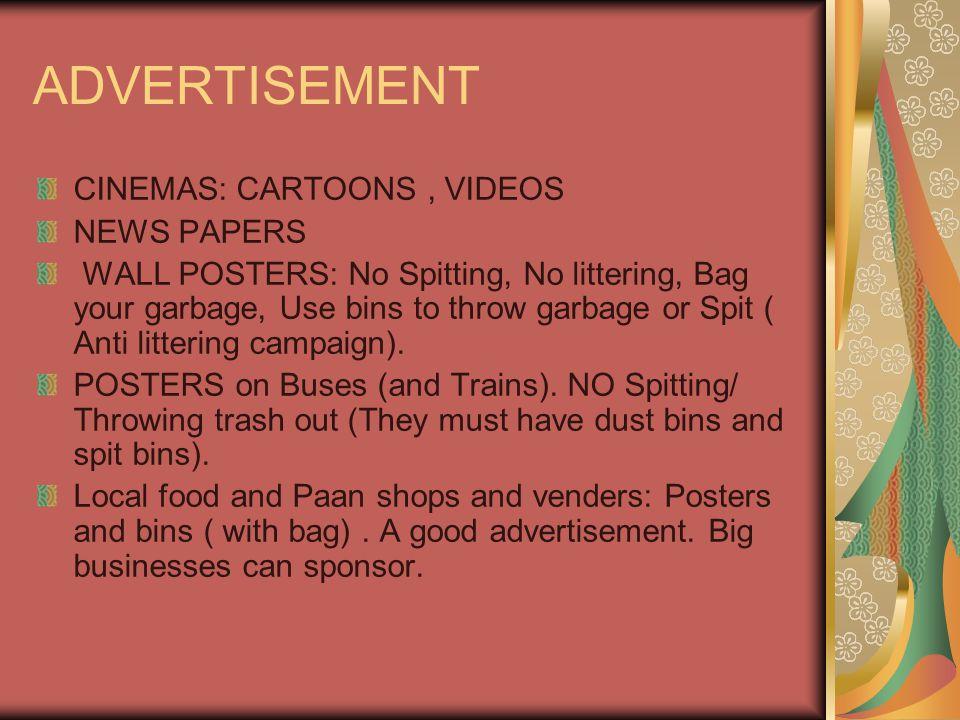 ADVERTISEMENT CINEMAS: CARTOONS , VIDEOS NEWS PAPERS