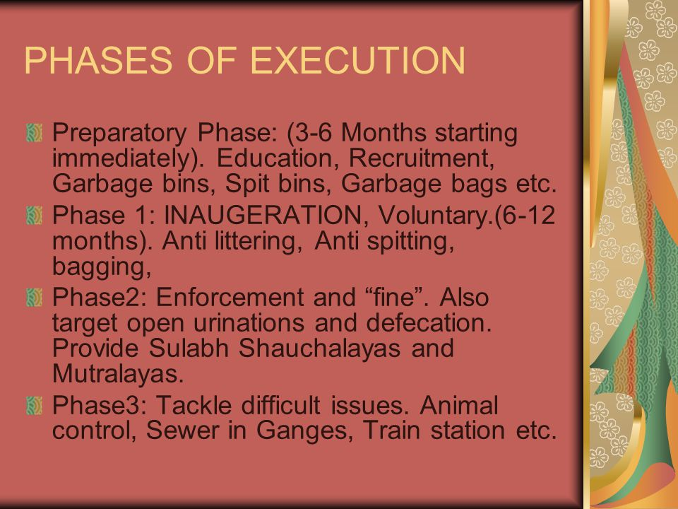 PHASES OF EXECUTION Preparatory Phase: (3-6 Months starting immediately). Education, Recruitment, Garbage bins, Spit bins, Garbage bags etc.