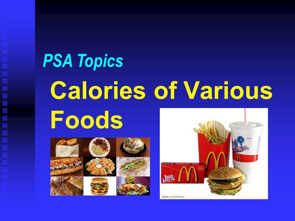 Calories of Various Foods