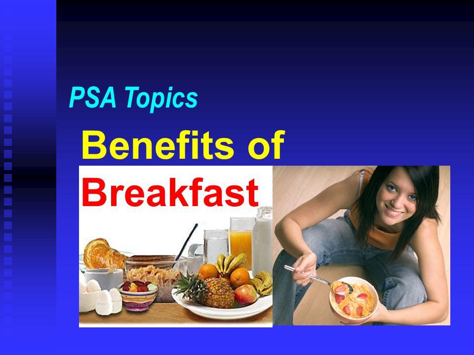 PSA Topics Benefits of Breakfast