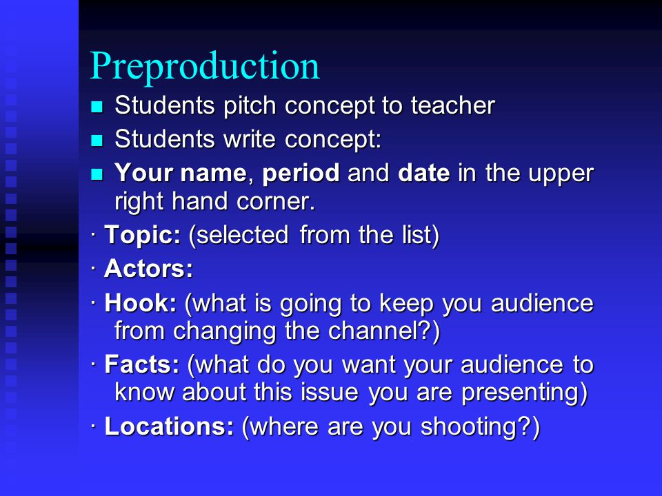 Preproduction Students pitch concept to teacher