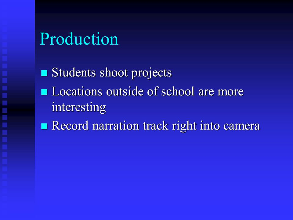 Production Students shoot projects