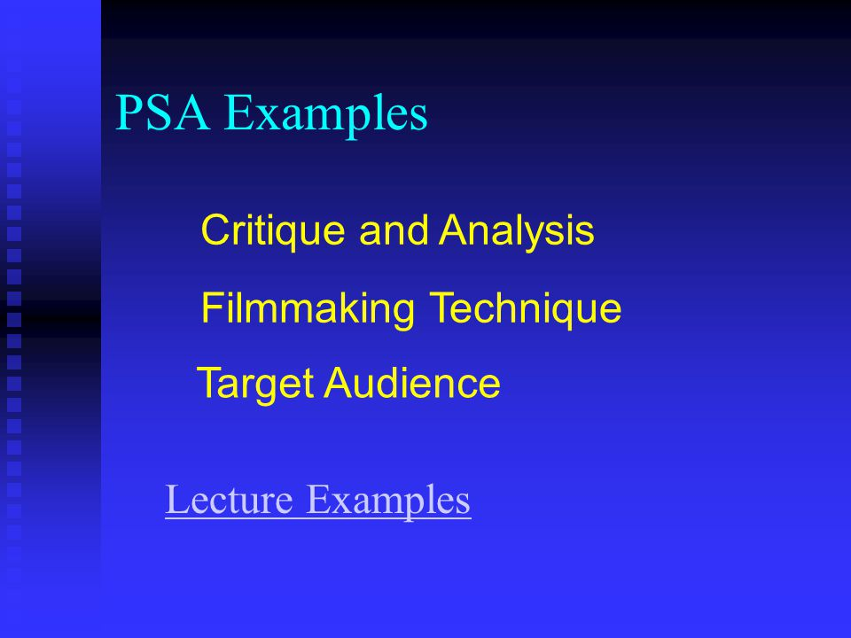 PSA Examples Critique and Analysis Filmmaking Technique
