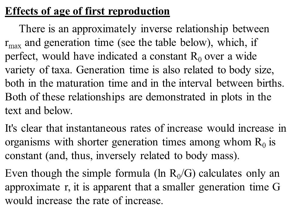 Effects of age of first reproduction
