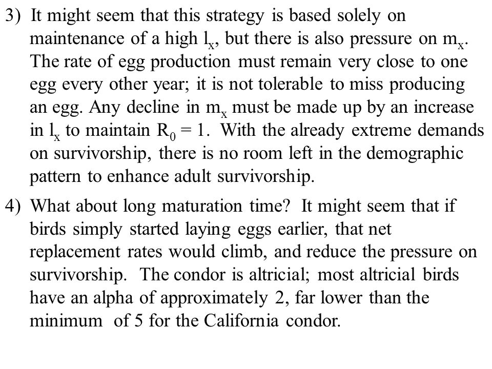 3) It might seem that this strategy is based solely on maintenance of a high lx, but there is also pressure on mx. The rate of egg production must remain very close to one egg every other year; it is not tolerable to miss producing an egg. Any decline in mx must be made up by an increase in lx to maintain R0 = 1. With the already extreme demands on survivorship, there is no room left in the demographic pattern to enhance adult survivorship.