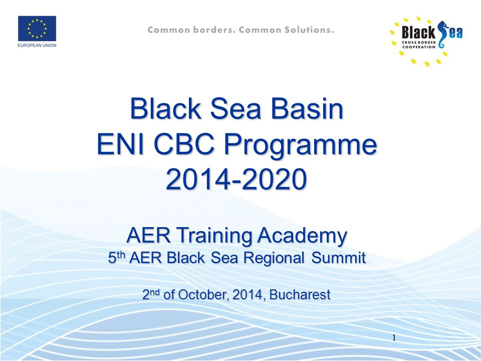 Black Sea Basin ENI CBC Programme 2014-2020 AER Training Academy