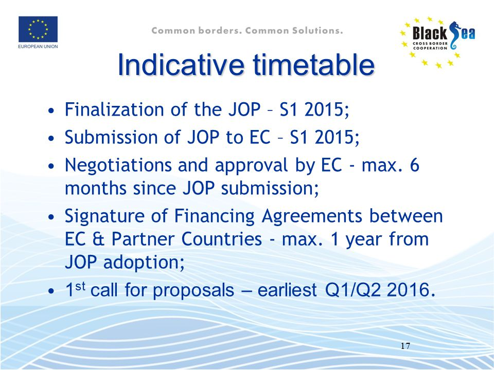 Indicative timetable Finalization of the JOP – S1 2015;