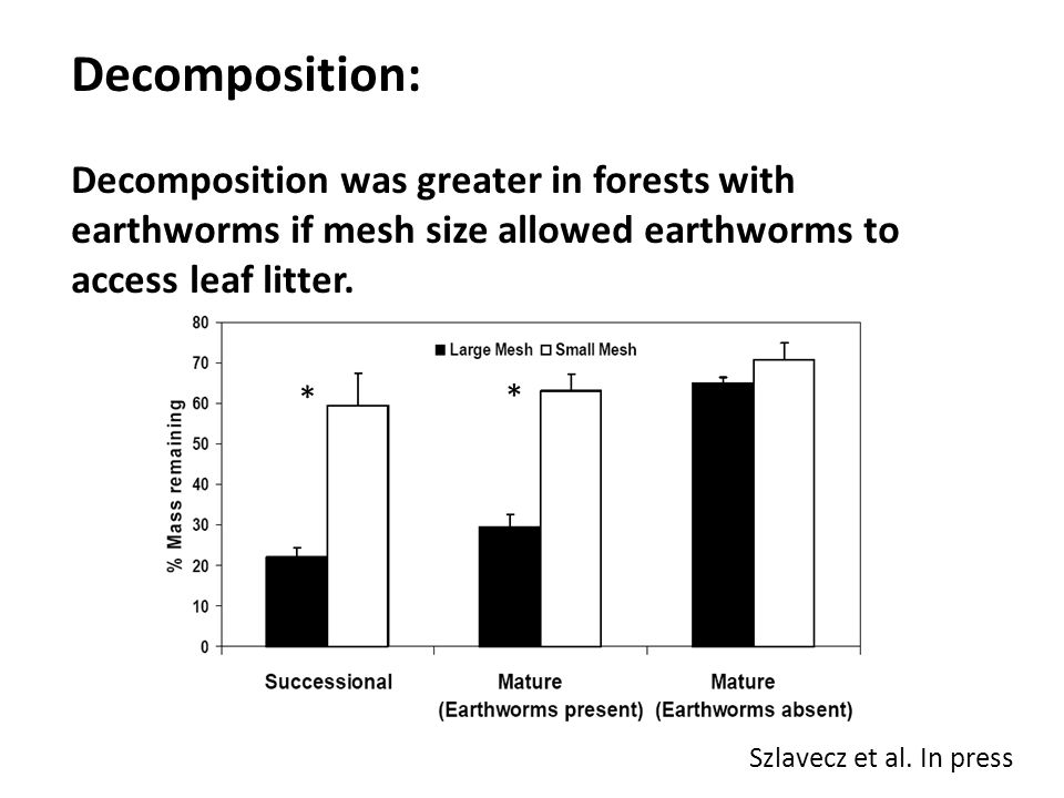 Decomposition: Decomposition was greater in forests with earthworms if mesh size allowed earthworms to access leaf litter.
