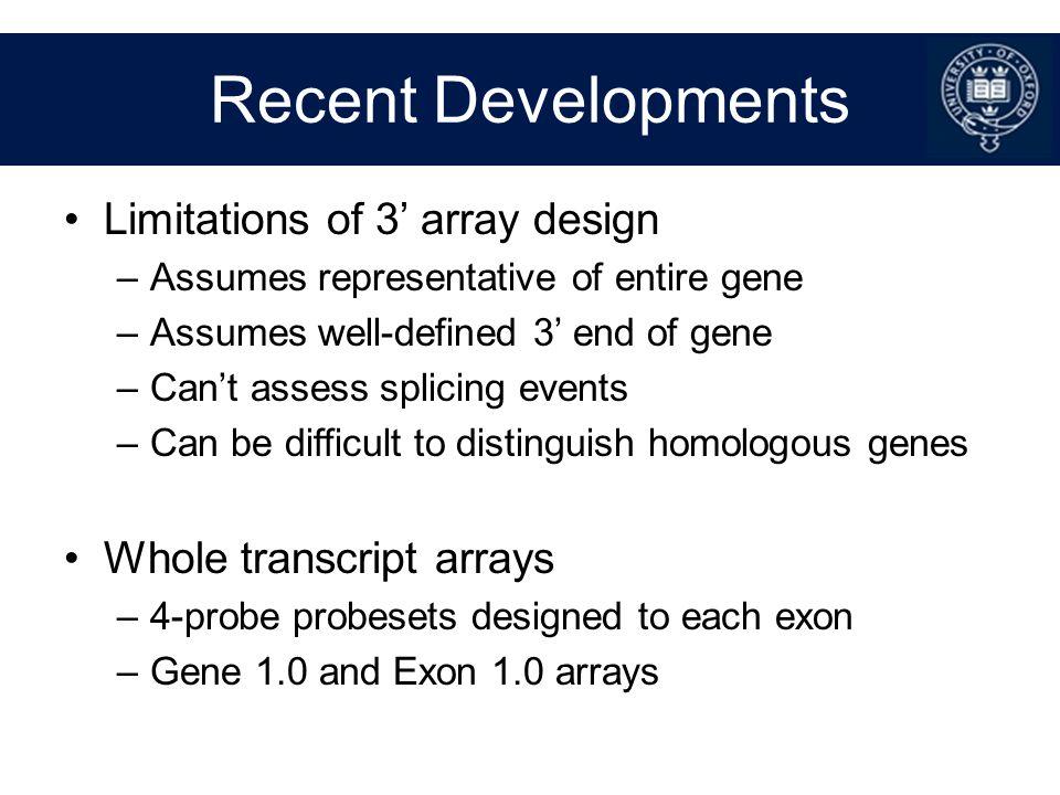 Recent Developments Limitations of 3' array design