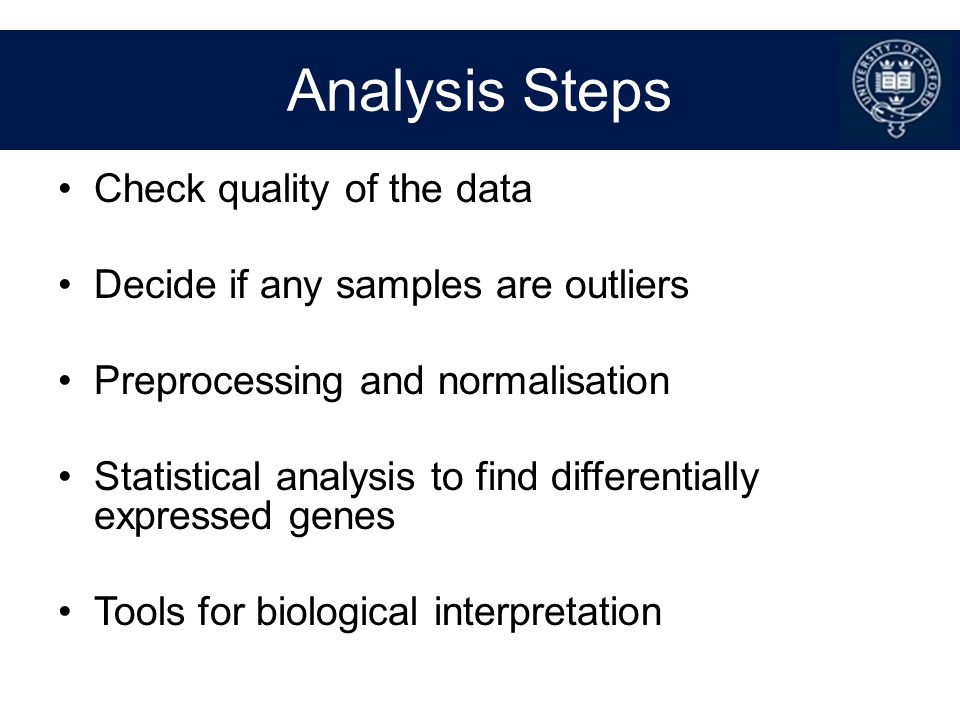 Analysis Steps Check quality of the data