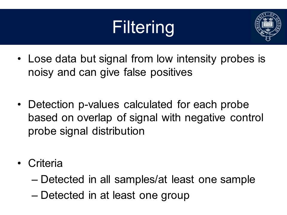 Filtering Lose data but signal from low intensity probes is noisy and can give false positives.
