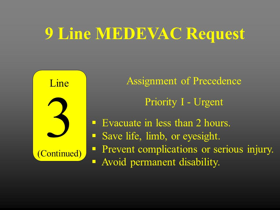 3 9 Line MEDEVAC Request Assignment of Precedence Line