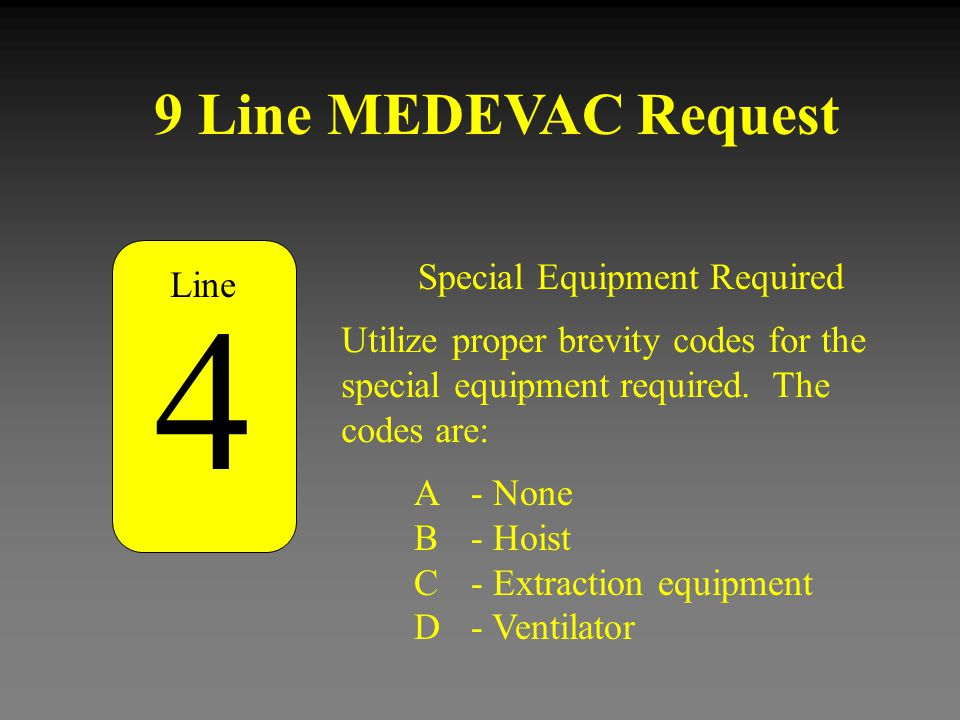 4 9 Line MEDEVAC Request Special Equipment Required Line