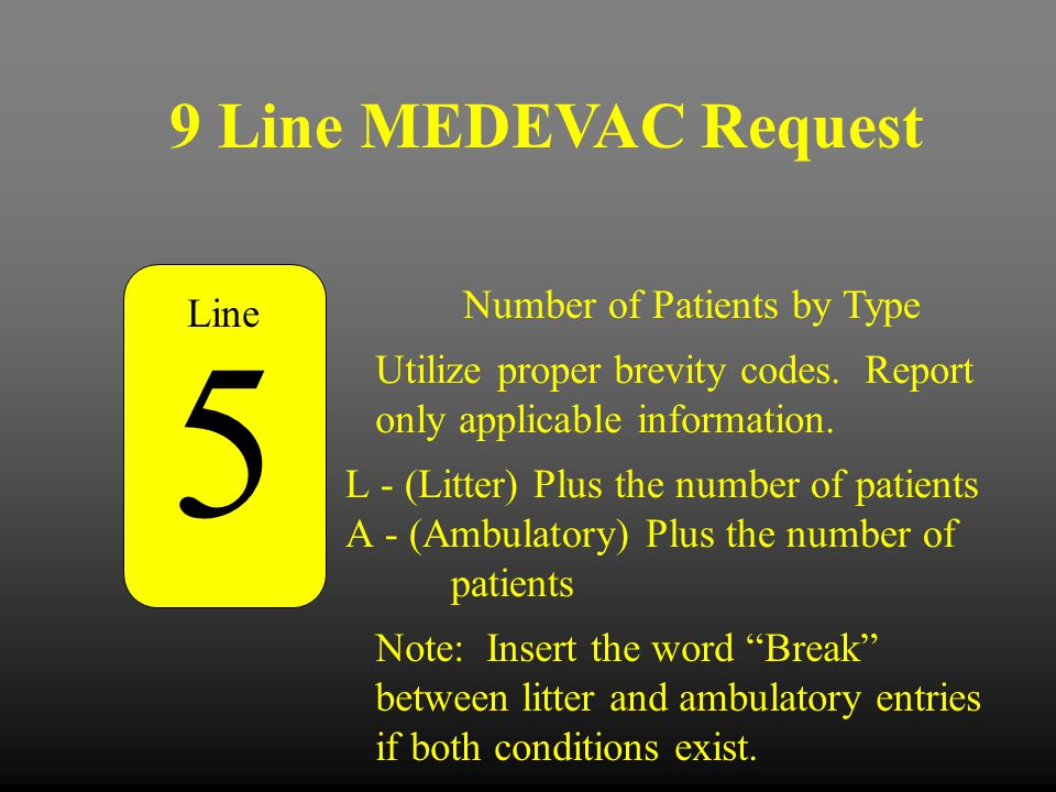 5 9 Line MEDEVAC Request Number of Patients by Type Line