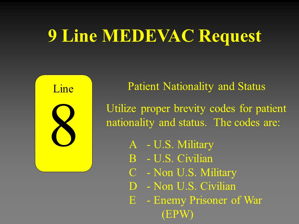 8 9 Line MEDEVAC Request Patient Nationality and Status Line