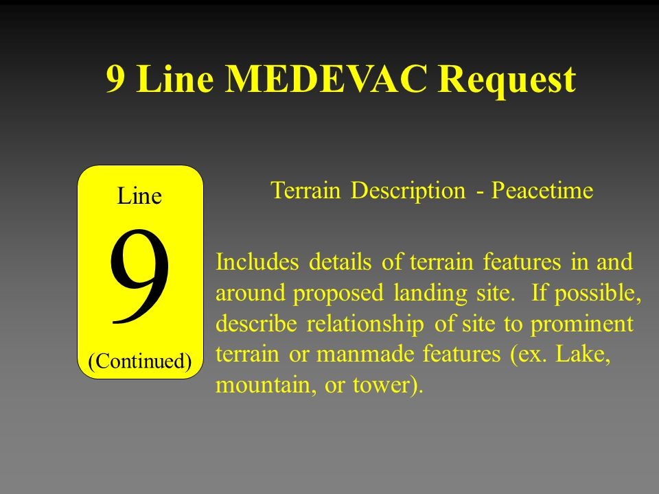 9 9 Line MEDEVAC Request Terrain Description - Peacetime Line