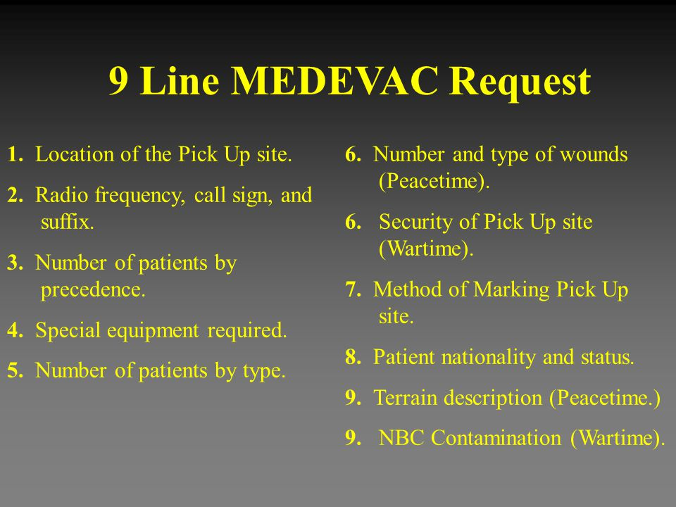 9 Line MEDEVAC Request 1. Location of the Pick Up site.