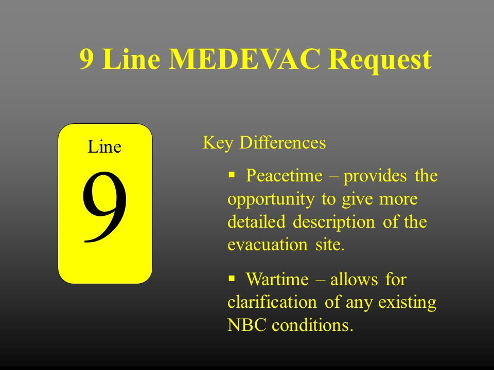 9 9 Line MEDEVAC Request Key Differences Line