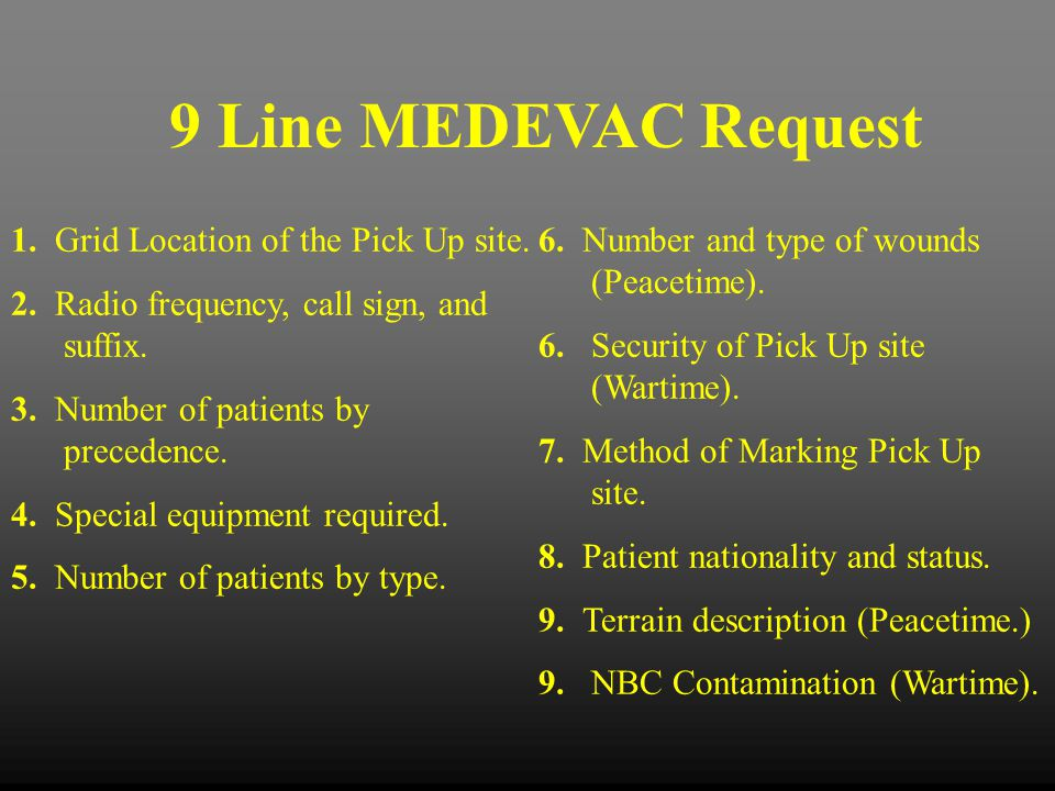 9 Line MEDEVAC Request 1. Grid Location of the Pick Up site.