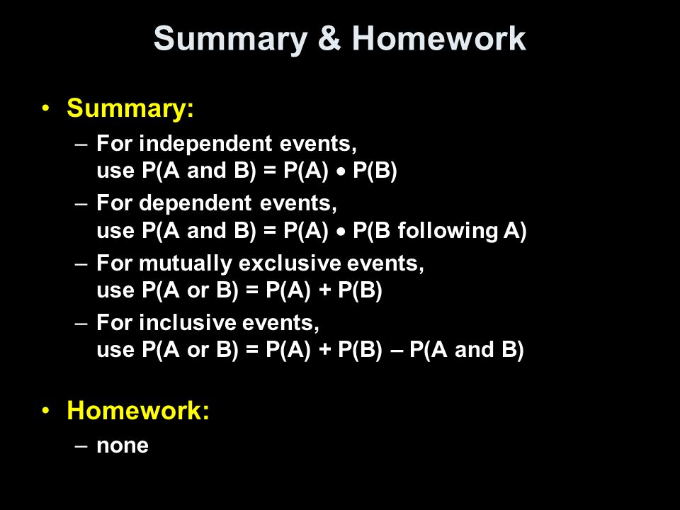 Summary & Homework Summary: Homework: