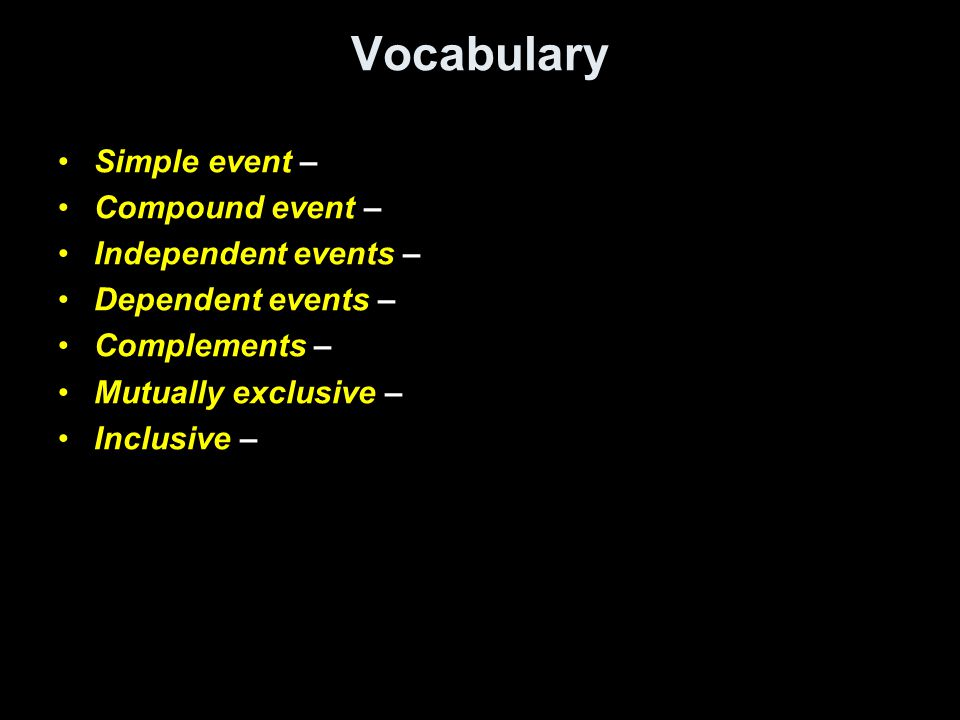 Vocabulary Simple event – Compound event – Independent events –