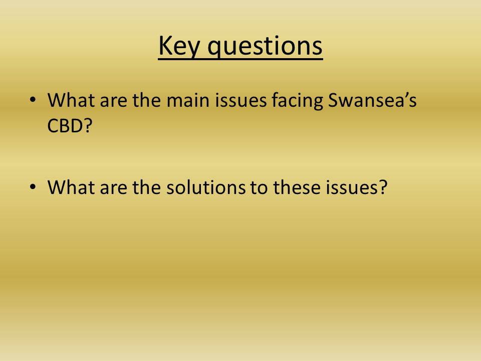 Key questions What are the main issues facing Swansea's CBD