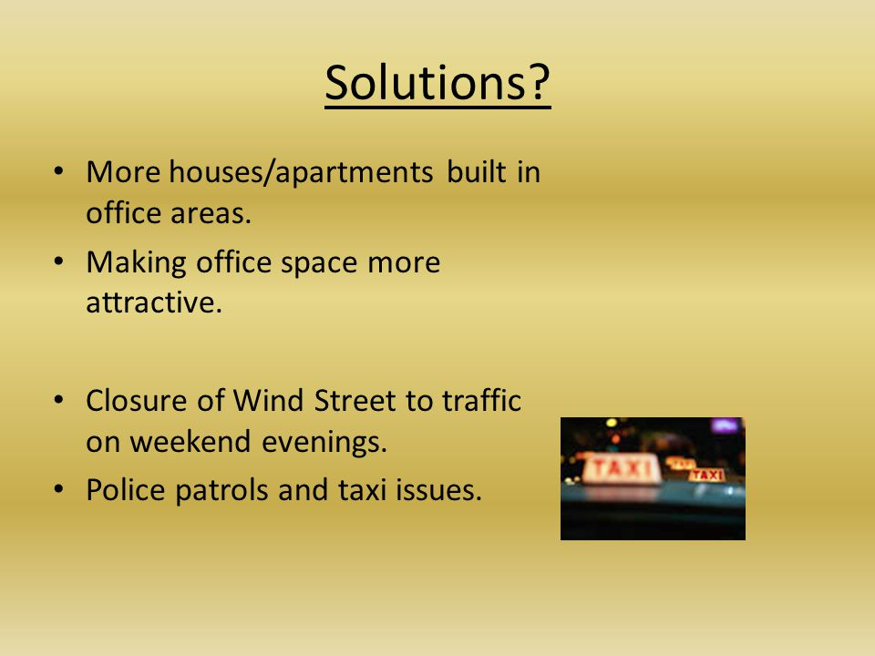 Solutions More houses/apartments built in office areas.