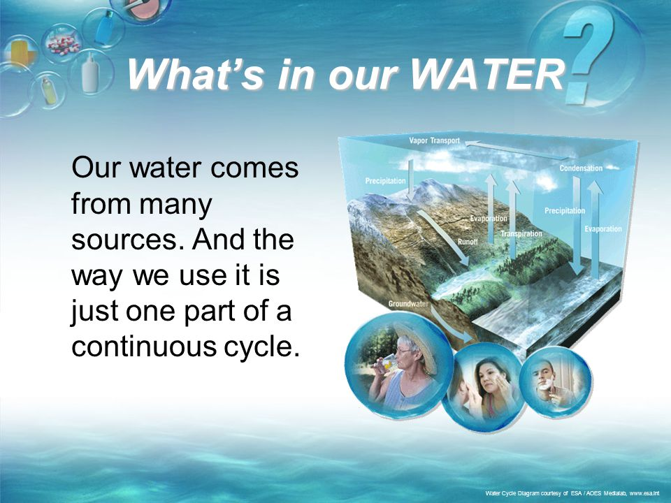 What's in our WATER Our water comes from many sources. And the way we use it is just one part of a continuous cycle.