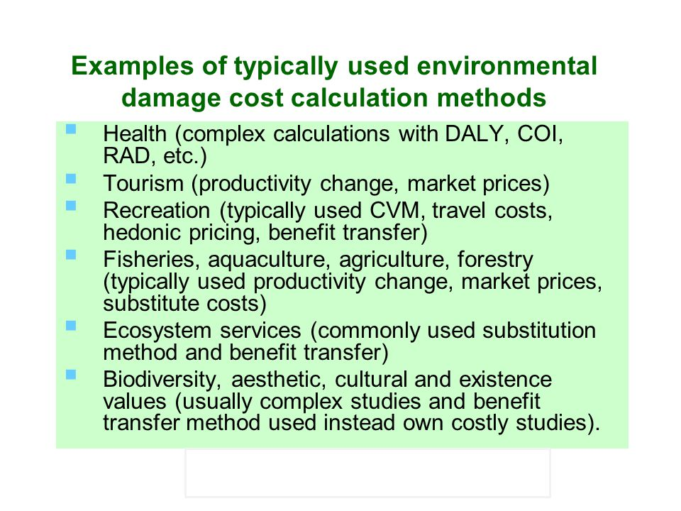 Examples of typically used environmental damage cost calculation methods