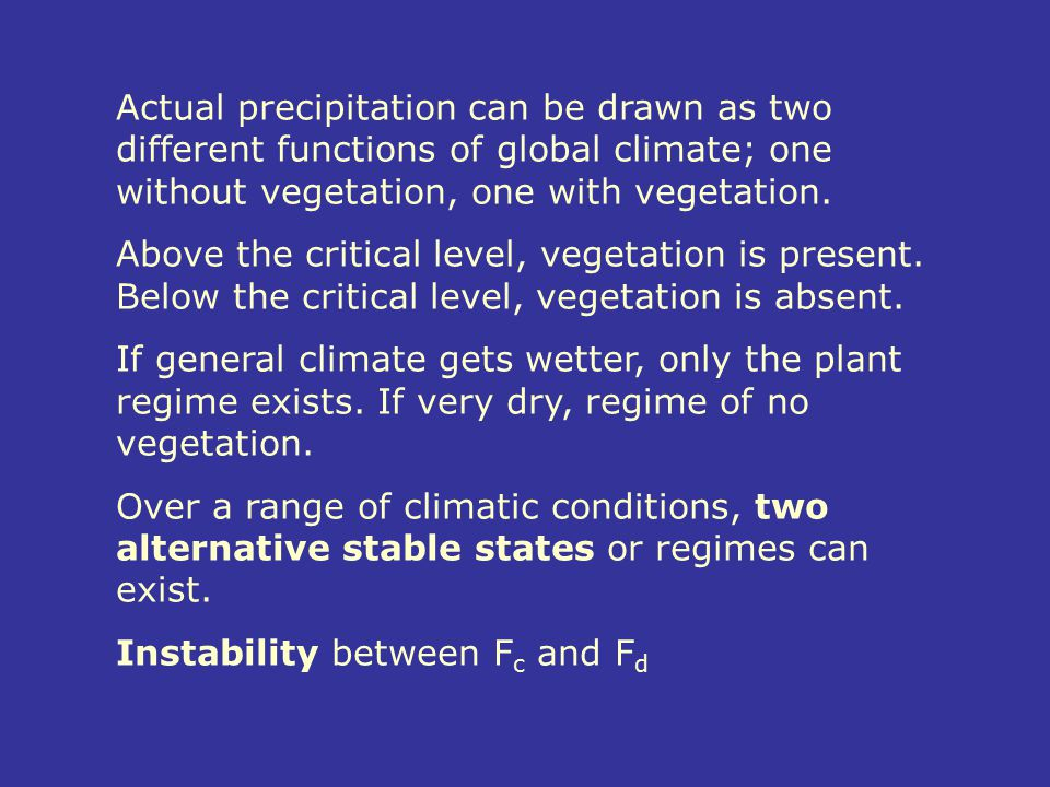 Actual precipitation can be drawn as two different functions of global climate; one without vegetation, one with vegetation.