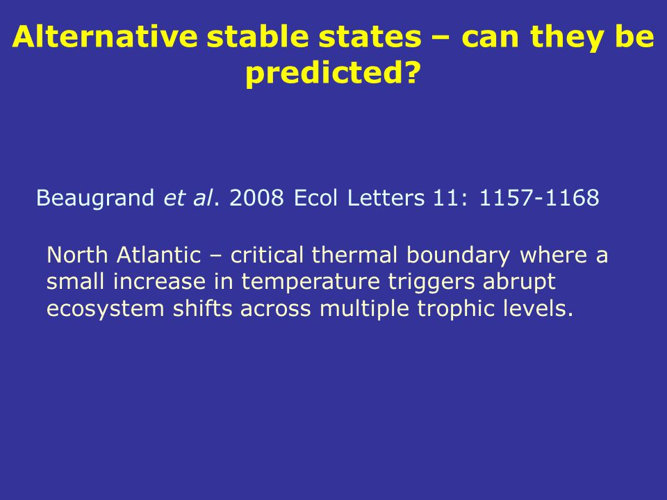 Alternative stable states – can they be predicted