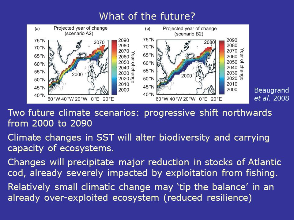 What of the future Beaugrand et al. 2008. Two future climate scenarios: progressive shift northwards from 2000 to 2090.