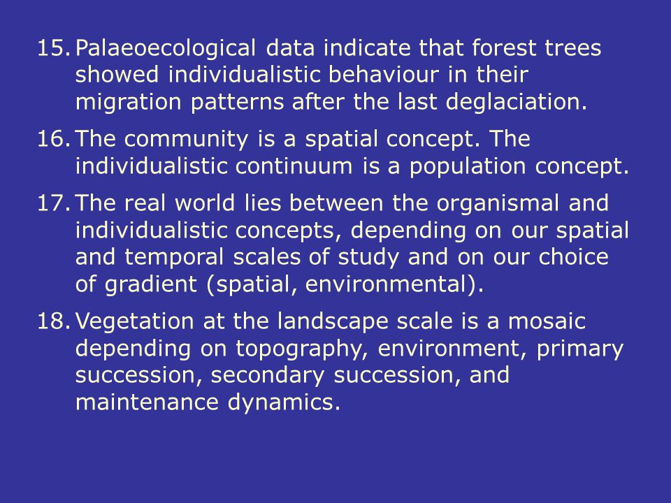 Palaeoecological data indicate that forest trees showed individualistic behaviour in their migration patterns after the last deglaciation.