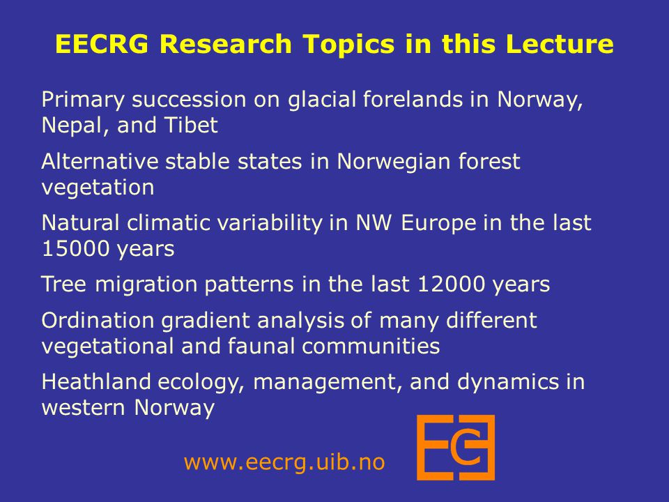 EECRG Research Topics in this Lecture