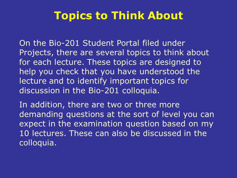 Topics to Think About