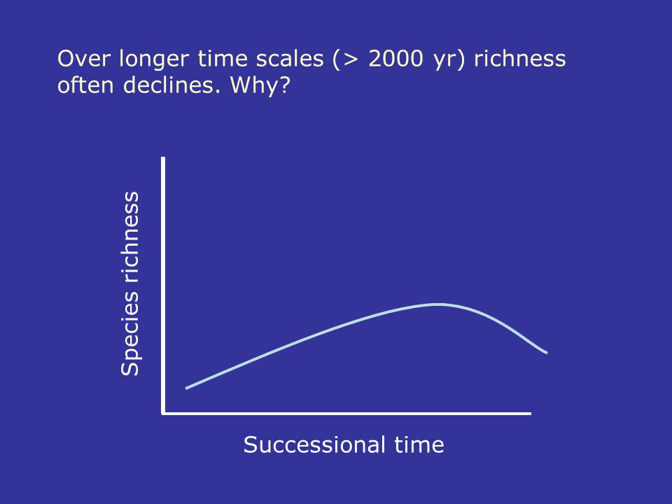 Over longer time scales (> 2000 yr) richness often declines. Why