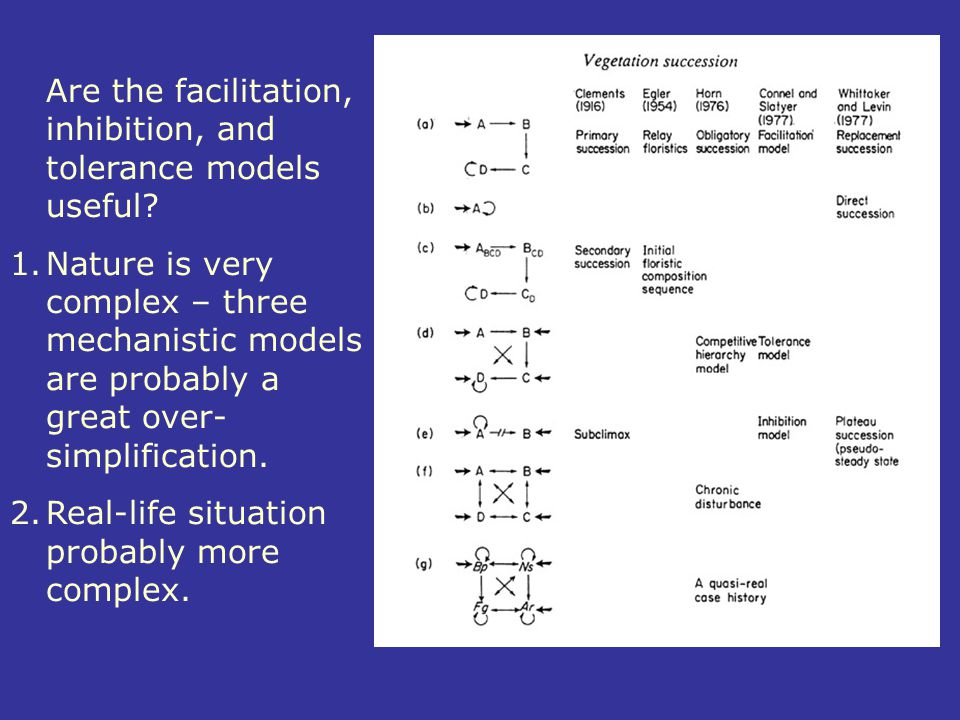 Are the facilitation, inhibition, and tolerance models useful
