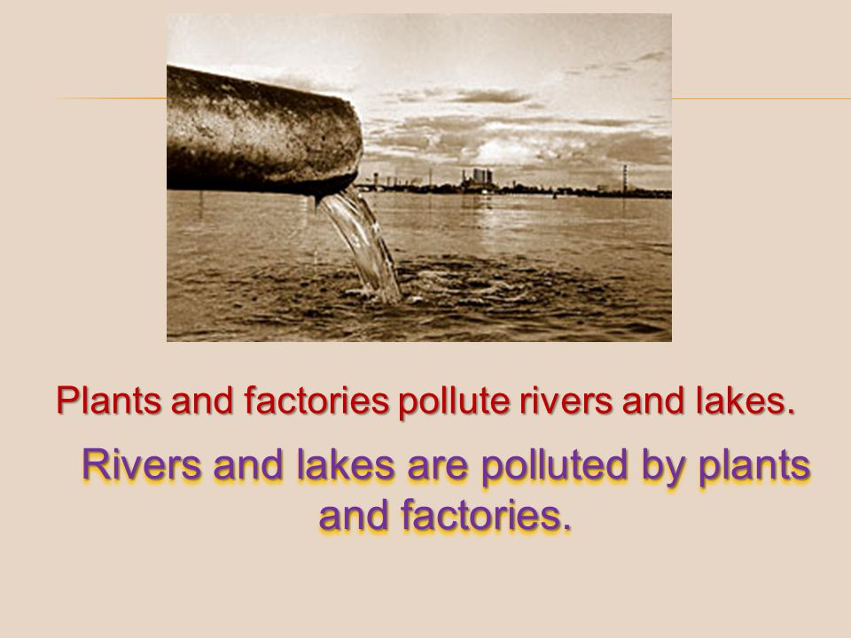 Rivers and lakes are polluted by plants and factories.