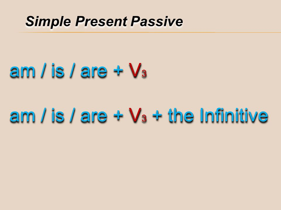am / is / are + V3 + the Infinitive