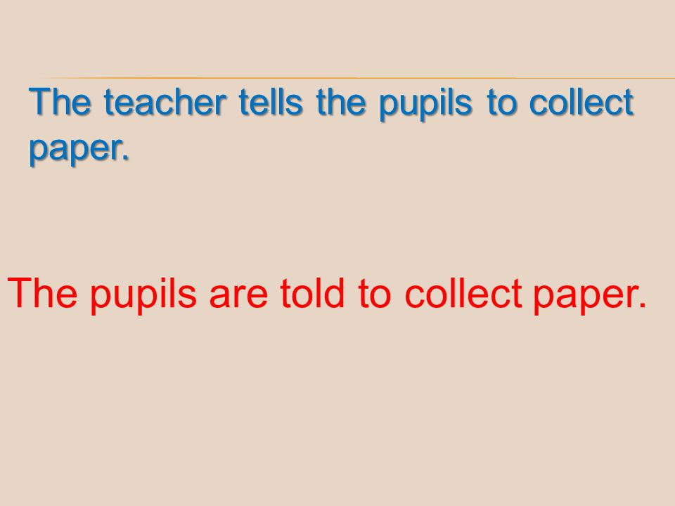 The pupils are told to collect paper.