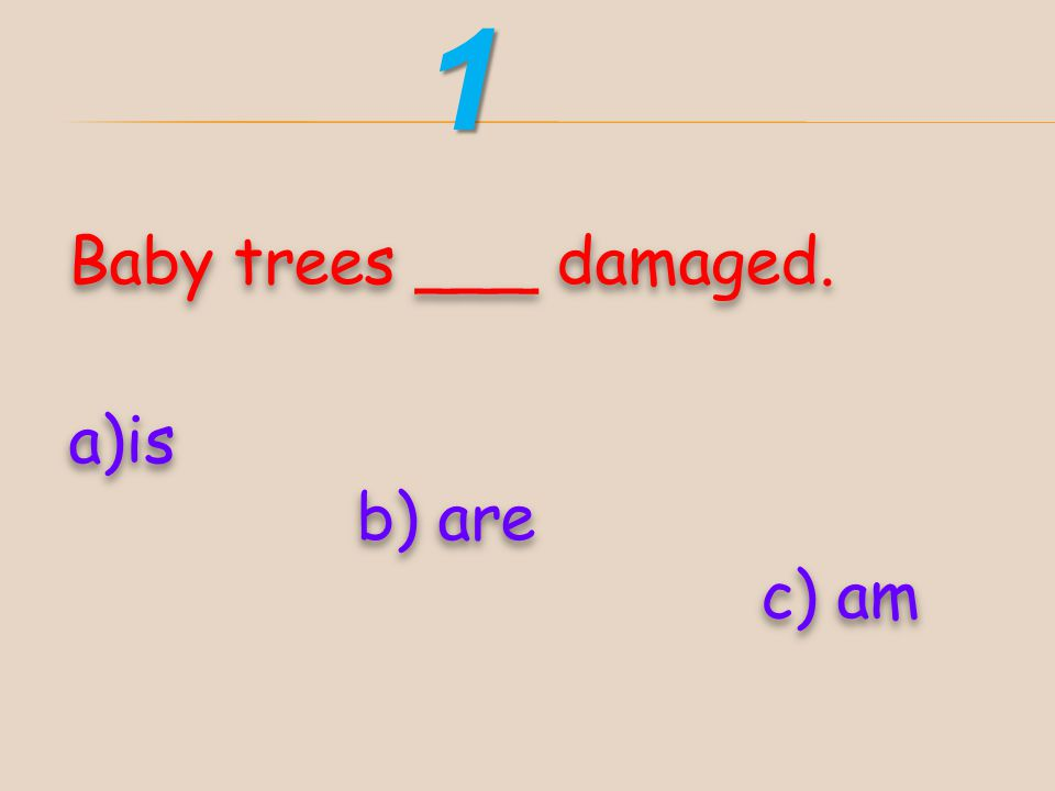 1 Baby trees ___ damaged. is b) are c) am