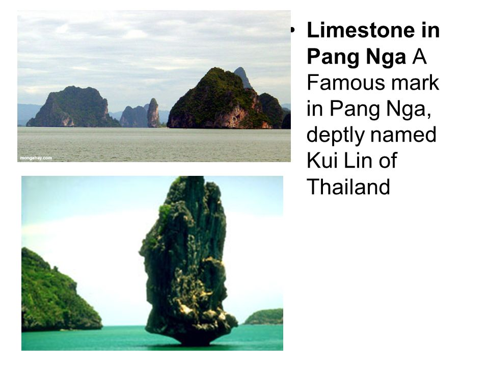 Limestone in Pang Nga A Famous mark in Pang Nga, deptly named Kui Lin of Thailand