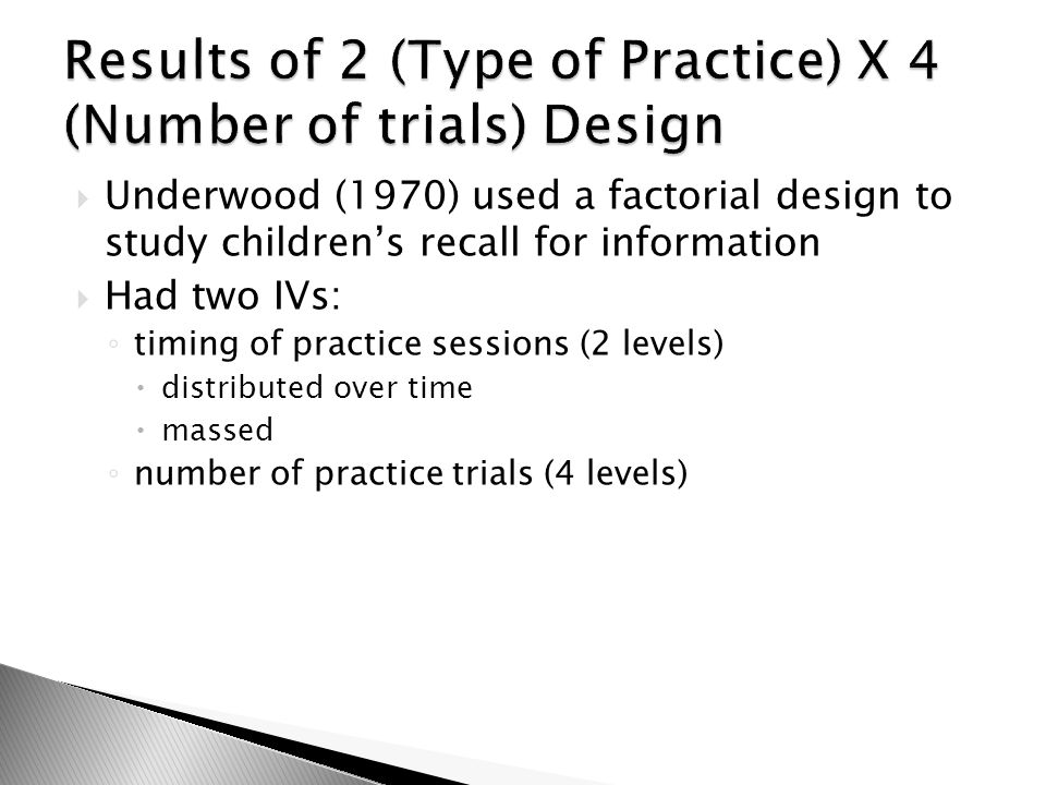 Results of 2 (Type of Practice) X 4 (Number of trials) Design