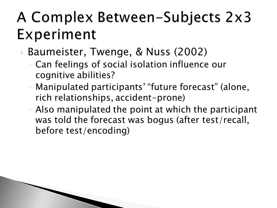 A Complex Between-Subjects 2x3 Experiment