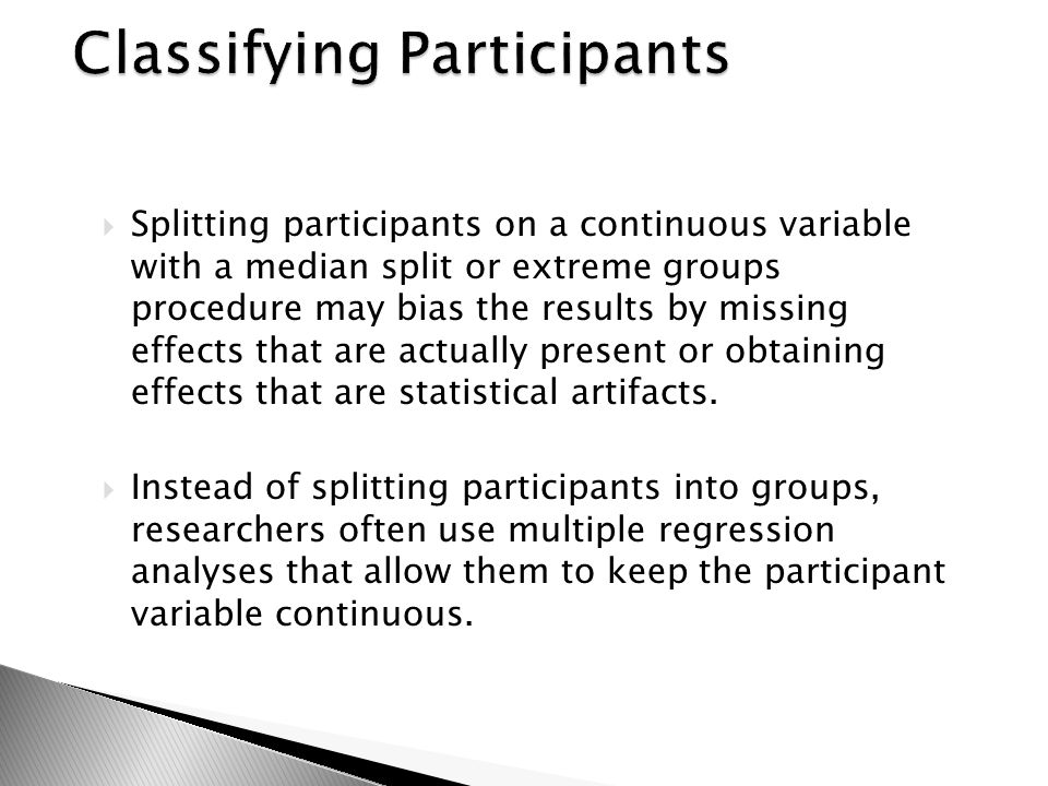 Classifying Participants
