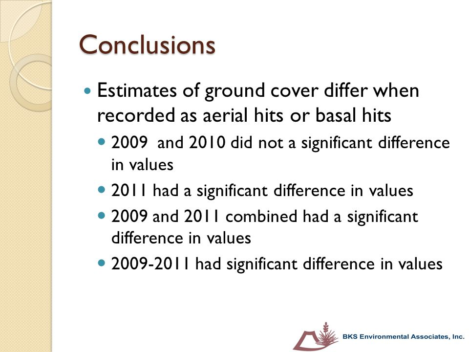 Conclusions Estimates of ground cover differ when recorded as aerial hits or basal hits. 2009 and 2010 did not a significant difference in values.